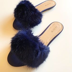 J.CREW Furry Slides